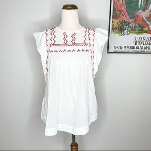 Country Road White Peasant Blouse Top